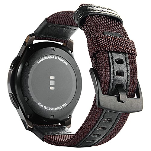 Price comparison product image Gear S3 Bands Nylon, Maxjoy S3 Frontier Classic Band 22 mm Woven Nylon Replacement Strap Large Sport Wristband Bracelet with Stainless Steel Metal Buckle for Samsung Gear S3 Smart Watch, Reddish Brown