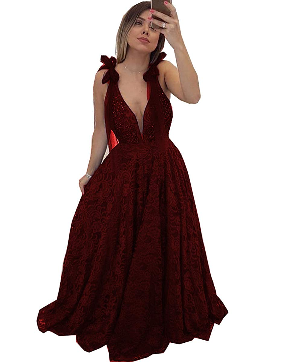 Burgundy MariRobe Women's Lace Appqiue Beaded Prom Gowns Deep Veck Evening Dresses Formal Gowns