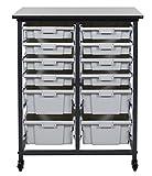 Mobile Bin Storage Unit - 8 Small And 4 Large Bins,Gray/Black,Mobile Bin