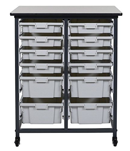 Mobile Bin Storage Unit - 8 Small And 4 Large Bins,Gray/Black,Mobile Bin by Luxor Furniture