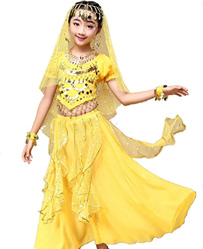 Astage Girl Belly Dance Sequin Indian Dance Costume Halloween Wear Yellow L -
