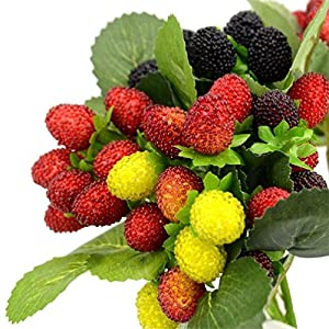 4 Bouquet/36 Heads Artificial Fruit Foam Strawberry Fake Simulation Paddle Mulberry Red Cherry For Home Wedding Party Decoration 25