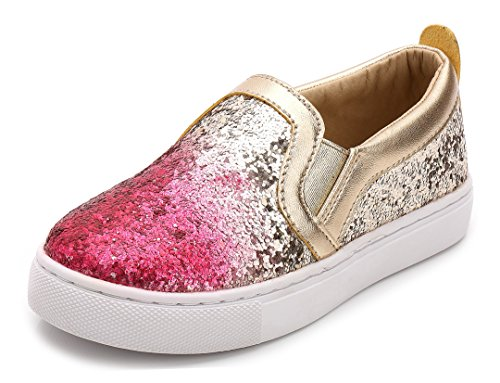 iDuoDuo Girl's Cute Sequins Low Top Casual Loafers Princess Party Sneakers (Toddler/Little Kid/Big Kid) (12 M US Little Kid, Pink)]()
