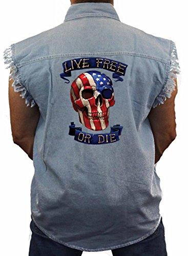 Biker Sleeveless Denim Vest Live Free Or Die M-5XL (Denim Blue, 4XL) ()