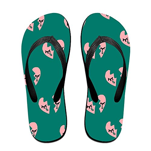 Crying Couple Slipper Chic Print Black Rubber Spa Flip Flops Non Slippers Unisex Heart Broken Sandals Slip Thong ww5r1xfq