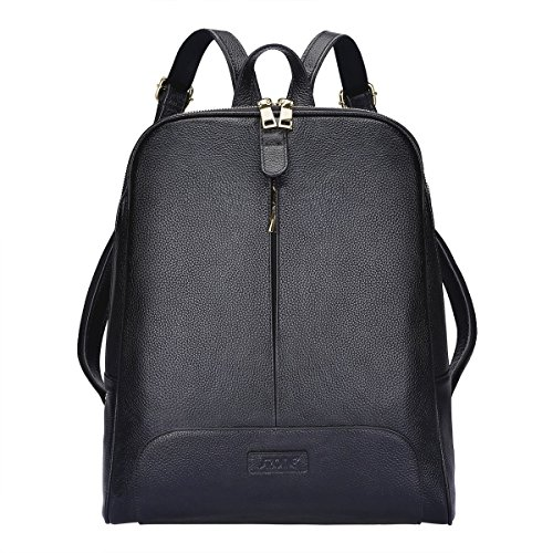 S-ZONE 14 Inch Laptop Women Genuine Leather Backpack Fashion Rucksack Purse Casual Shoulder Ladies Travel Bag Black