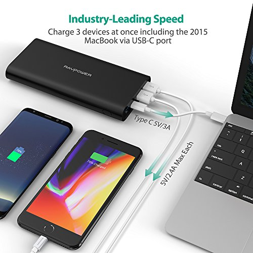 Upgraded USB C mobile Charger 26800 RAVPower 26800mAh twice key in Port Battery Pack iSmart 20 5V 3A Type C Port capability Bank External cellphone Charger for iPhone iPad Galaxy and New MacBook External Battery Packs