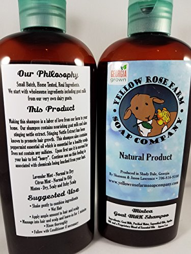 Hair Care: GOAT MILK SHAMPOO- Mintea. All Natural. NO PARABENS, SULFATES, OR MINERAL OIL. Color Safe. Helps with HAIR GROWTH. Fresh from the FARM! by Yellow Rose Farm Soap Co.