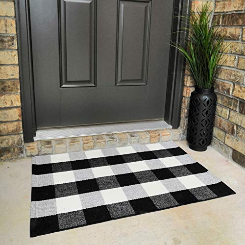 Cotton Buffalo Plaid Rugs Black and White Checkered Rug Door Mat (23.6