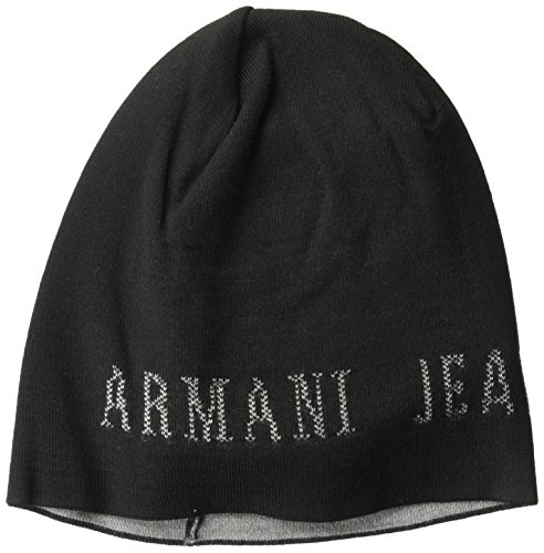 Armani Exchange Men's Wool Blend Knit Beanie Logo, Black, One Size Black Logo Wool Blend