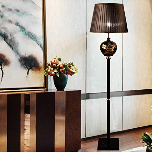 Cdeng Simple New Chinese Ceramic Floor Lamp Living Room Bedroom Study Vertical Retro Floor - Incandescent Ground Well Light