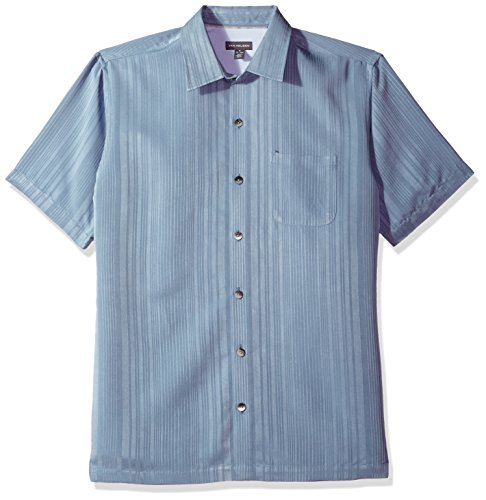 Van Heusen Men's Air Short Sleeve Button Down Poly Rayon Stripe Shirt, deep Blue Jeans, 2X-Large