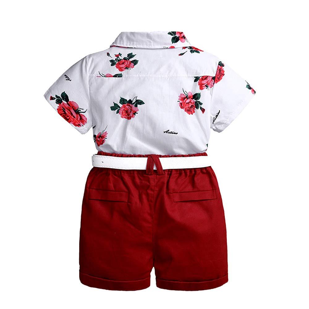 Infant Short Sleeve Shirt+Bib Pants+Bow Tie+Belt Clothes Set LJYH Baby Boys Gentleman Outfits Suits
