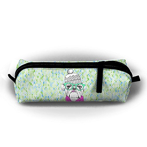 Funny Student's Cute Stylish Old Bulldog In White Hat Pencil Case For Children Cool Pencil Bags -
