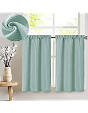 Linen Textured Tier Curtains Rod Pocket Flax Linen Look Tiers Kitchen Cafe Curtains Window Treatments for Living Room 2 Panels