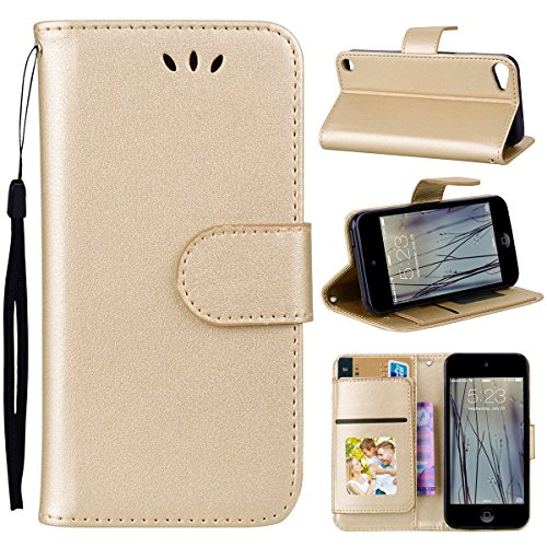 TOTOOSE iPod Touch 5 6 Case,iPod Touch 5 6 Case,Series Premium PU Leather Wallet Snap Case Series Series Flip Cover for iPod Touch 5 6 Golden -