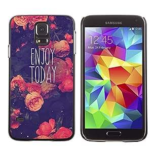 PC/Aluminum Funda Carcasa protectora para Samsung Galaxy S5 SM-G900 Pink Rose Vintage Motivational / JUSTGO PHONE PROTECTOR