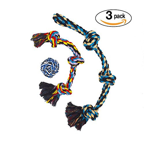 Comhome Pet Cotton Rope Dog Toys(3 Pack) - Durable Ball Rope Gift Set for Large Dogs Aggressive Chewers