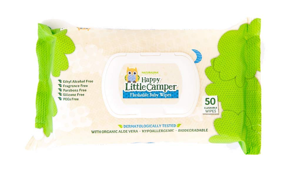 Happy Little Camper Flushable Baby Wipes with Organic Aloe, Septic Safe, 50 Count Naturalena Brands