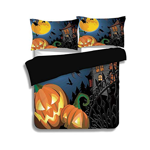 iPrint Black Duvet Cover Set Queen Size,Halloween Decorations,Gothic Halloween Haunted House Party Theme Decor Trick or Treat for Kids,Multi,Decorative 3 Pcs Bedding Set by 2 Pillow Shams ()