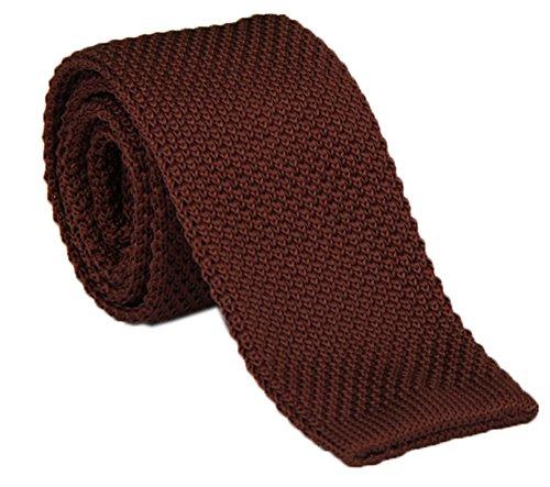 Secdtie Men's Dark Coffee Solid Color Knitted Neck Ties Accessory Formal Necktie ()