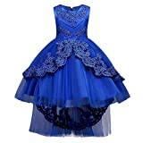 HUANQIUE Girls Pageant Party Dresses High Low Wedding Flower Girl Gowns Royal Blue 12-13 Years