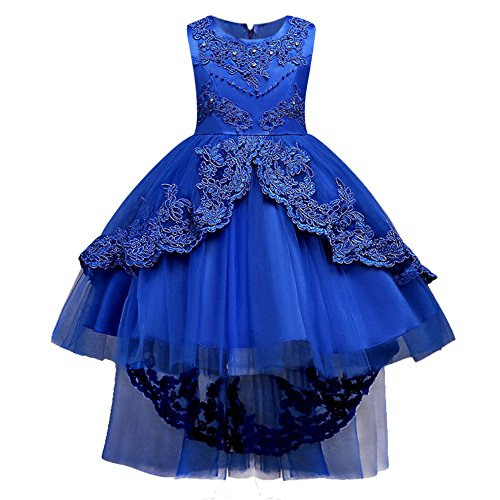 HUANQIUE Girls Pageant Party Dresses High Low Wedding Flower Girl Gowns Royal Blue 12-13 Years by HUANQIUE