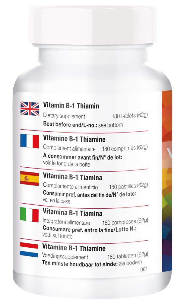 180 tabletas de vitamina B - altas dosis de tiamina - para el metabolismo, energía.: Amazon.es: Salud y cuidado personal