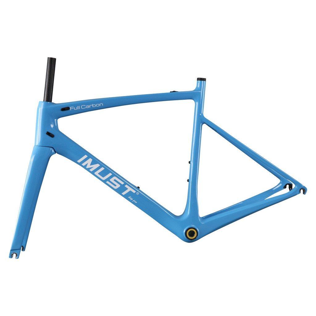 IMUSTカーボンファイバーロードバイクフレームセット軽量bb86 UDマット B01HZ69F3O  オレンジ 57cm