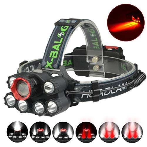 (XULUOQI LED Headlamp,Red Light Headlamp Flashlight USB Rechargeable - Waterproof and Comfortable Headlight 8000 Lumens 7-Lamp 6 Mode Super Bright Outdoor Hunting Camping Fishing Headlamp )