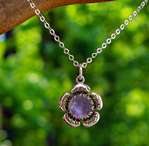 Recycled Early 1900's Purple Medicine Bottle Sterling Silver Flower Necklace