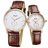 Jiusko Sapphire - His Hers Couple Brown Leather Watch Gift Set - Engraved - 530