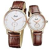 Jiusko Swiss - His & Hers Couple Wrist Watches Gift Set - Real Diamond - Sapphire - Two Tone … (Brown Leather)
