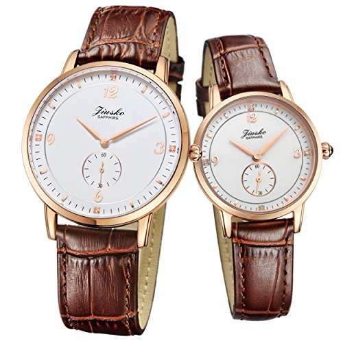 Jiusko Sapphire - His Hers Couple Brown Leather Watch Gift Set - Engraved - 530 by JIUSKO