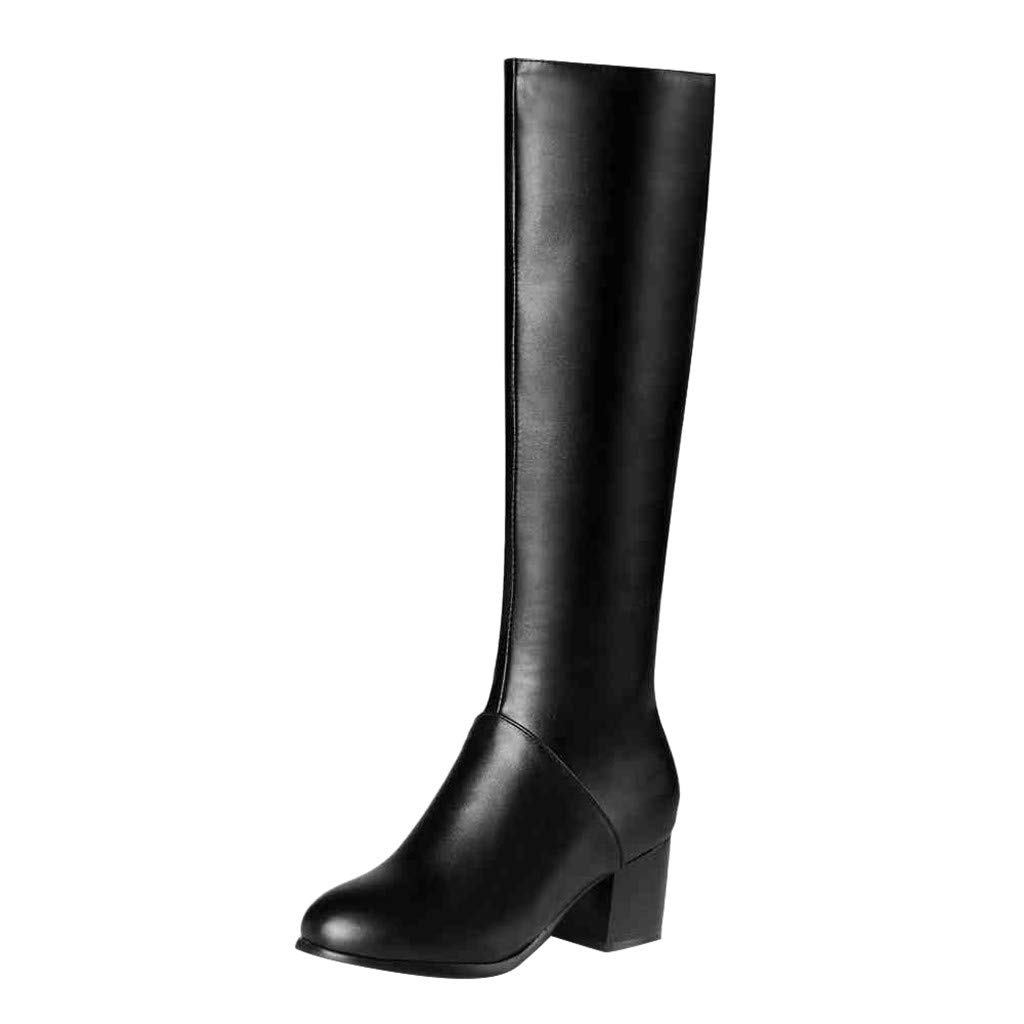 Fheaven Women's Fashion Winter Warm Boots Side Zip Round Toe Block Heel High Heels Knee High Booties Black by Fheaven-shoes