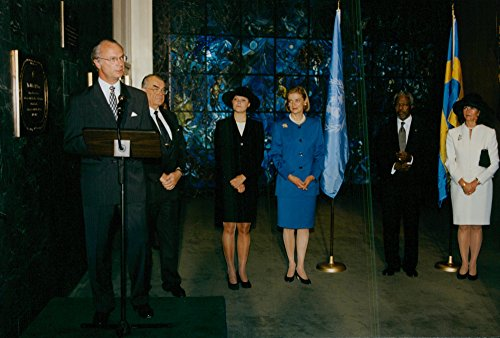 Vintage photo of King Carl Gustaf, Queen Silvia and Crown Princess Victoria unveiled UN Secretary General Kofie Annan and his wife Nane Annan