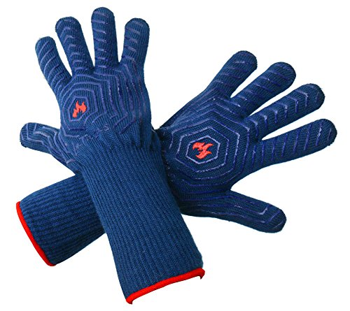 LaTazas Extreme Heat Resistant Grill Oven Mitts, Hot 932°F (EN407) 14 Inches Extra Long and Thick Protection BBQ Gloves for Grilling, Cooking, Fireplace, Barbecue and Pot holders with Blue, Set of 2 (Bbq Pit Boys Barbecue Grilling compare prices)
