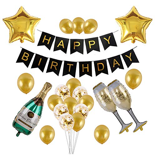 Kwayi Happy Birthday Supplies, Gold And Black Themed Birthday Decoration Party Supplies With Happy Birthday Banner Champagne Bottle Cup And Confetti Balloons, Totally 35PCS For All Ages Birthday Decoration