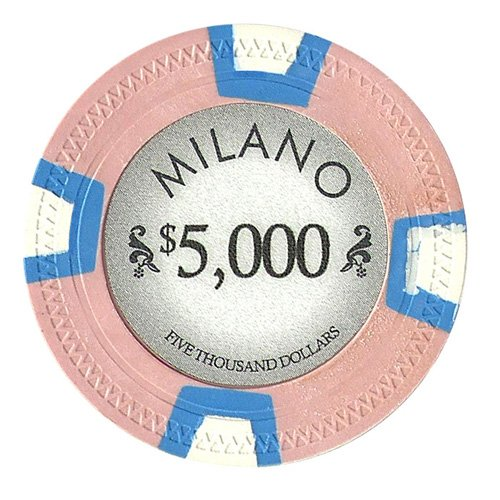 Claysmith Gaming $5000 Clay Composite 10 Gram Milano Poker Chips - Sleeve of 25