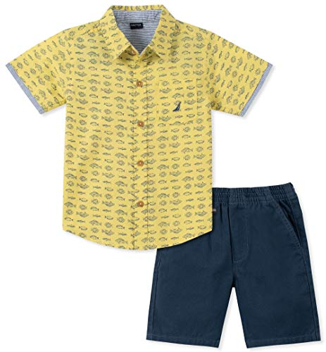 Nautica Sets (KHQ) Boys' Little 2 Pieces Shirt Shorts Set, Yellow Print, 7 ()