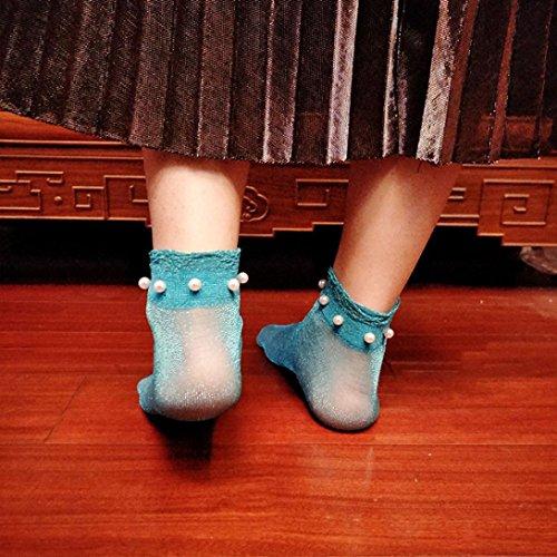 Chaussettes Résille Femmes, Inkach Filles Élégantes Été Glitter Maille Douce Résille Mesh Cheville Chaussettes Courtes Bas F