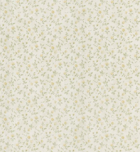 Brewster 403-49237 Cottage Living Abigail Yellow Rosebud Trail Wallpaper