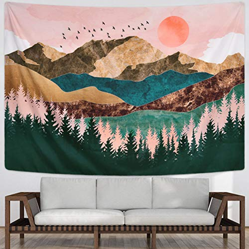 Sevenstars Mountain Tapestry Forest Tree Tapestry Sunset Tapestry Nature Landscape Tapestry Wall Hanging for Room(70.9 × 92.5 - Tapestry Birds Hanging Wall