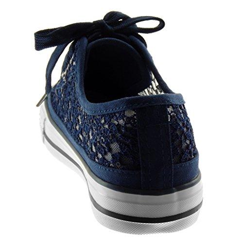 Paillettes Scarpe Piatto Tacco Tacco cm Blu Donna Fishnet Ricamo Moda Chic 3 Angkorly Sneaker Tennis Flessibile Sporty zdqd7wO
