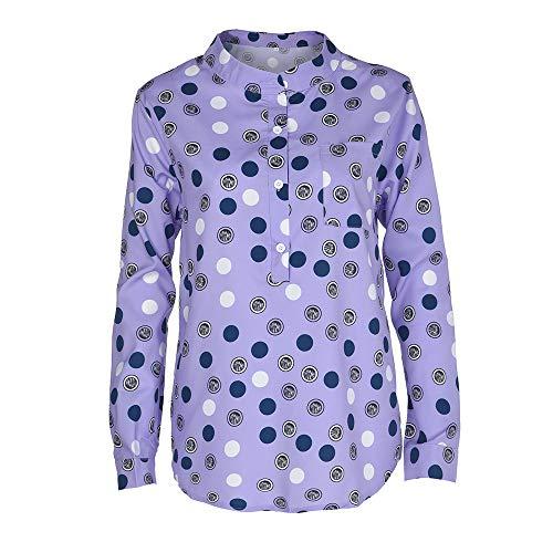 Plus Taille Chemisiers Autumne Plus Blouse d'onde Impression Col Montant Taille Innerternet Longues Femmes Manches LaChe Violet Point xZ1AA4