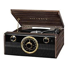 """Our VictrolaMetropolitan 4-in-1 Record Player combines a Mid-Century Modern look with a classic rotary tuner with beautiful """"around the dial"""" LED lighting while still maintaining the latest technology for your convenient listening enjoyment...."""
