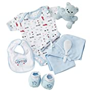 Big Oshi Baby Essentials Gift Basket 9-Piece Layette Set Infant up to 0-6 Months - Blue