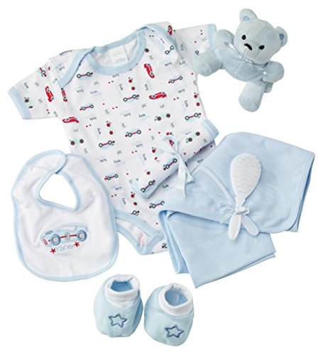Big Oshi Baby Essentials Gift Basket 9-Piece Layette Set Infant up to 0-6 Months - Blue (Gift Baskets Infant Boy)