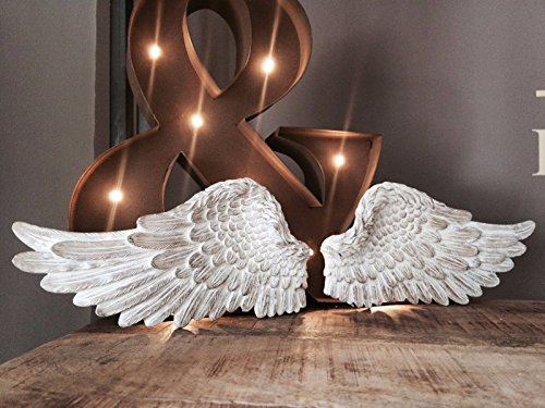(Homes on Trend Pair of Angel Wings Ornate Vintage Shabby Cherub Wall Art Hanging Decoration)