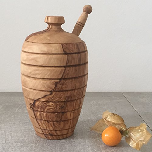 Honey Pot with Dipper / Honey Jar, handcrafted from natural olive wood